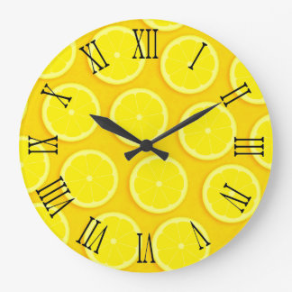 Lemon slice graphic yellow roman wall clock
