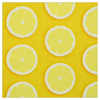 Lemon slice yellow fruits fabric