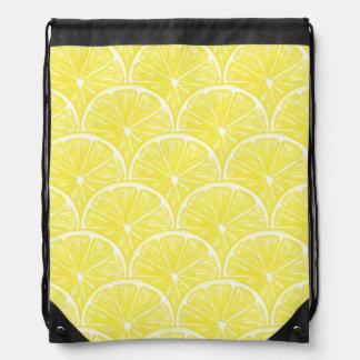 Lemon slices drawstring bag