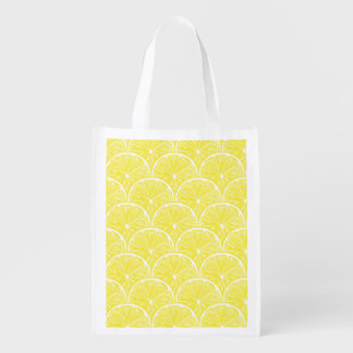 Lemon slices reusable grocery bag