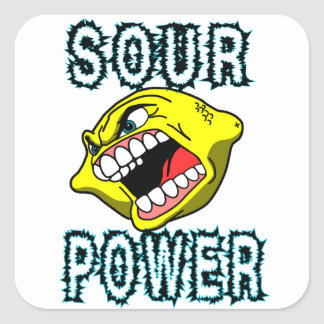 Lemon Sour Power Square Sticker