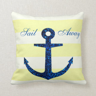 Lemon Stripe & Blue Anchor Throw Pillow