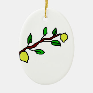 lemon twig ceramic oval ornament