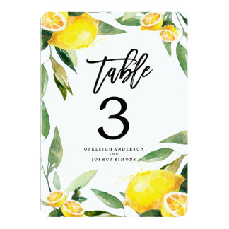 Lemon Watercolor Wedding Table Number Cards