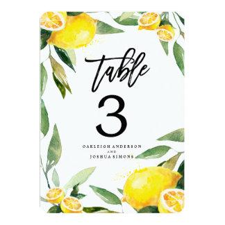Lemon Watercolor Wedding Table Number Cards