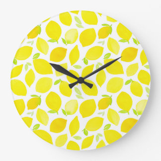 LEMON! Watercolour pattern wall clock