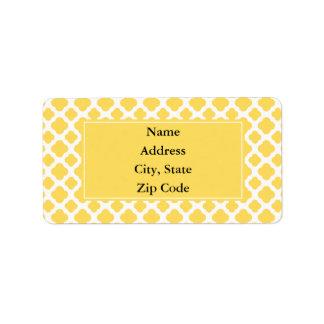 Lemon Yellow and White Quatrefoil Pattern Label
