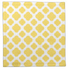 Lemon Yellow and White Quatrefoil Pattern Napkin