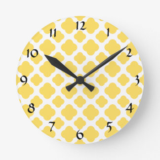Lemon Yellow and White Quatrefoil Pattern Round Clock