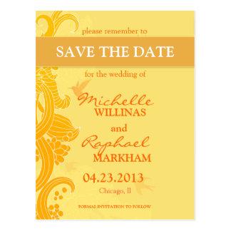 Lemon Yellow Birds Wedding Save the Date Postcard