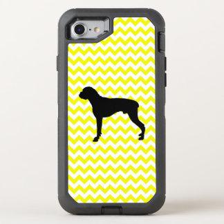 Lemon Yellow Chevron With Boxer OtterBox Defender iPhone 8/7 Case