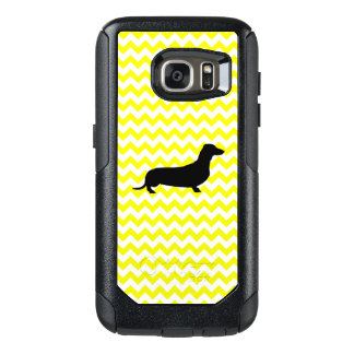 Lemon Yellow Chevron With Dachshund OtterBox Samsung Galaxy S7 Case