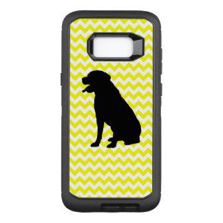 Lemon Yellow Chevron With Lab Silhouette OtterBox Defender Samsung Galaxy S8+ Case