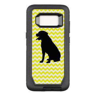 Lemon Yellow Chevron With Lab Silhouette OtterBox Defender Samsung Galaxy S8 Case