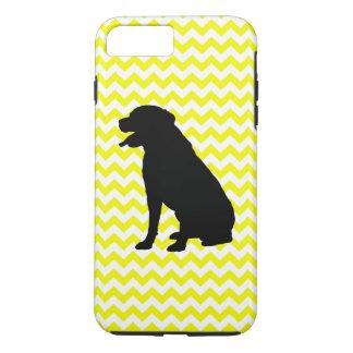 Lemon Yellow Chevron With Labrador Retriever iPhone 7 Plus Case