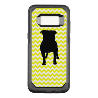 Lemon Yellow Chevron With Pug Silhouette OtterBox Commuter Samsung Galaxy S8 Case
