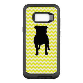 Lemon Yellow Chevron With Pug Silhouette OtterBox Defender Samsung Galaxy S8+ Case