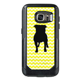 Lemon Yellow Chevron With Pug Silhouette OtterBox Samsung Galaxy S7 Case