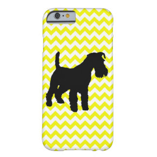 Lemon Yellow Chevron With Schnauzer Silhouette Barely There iPhone 6 Case