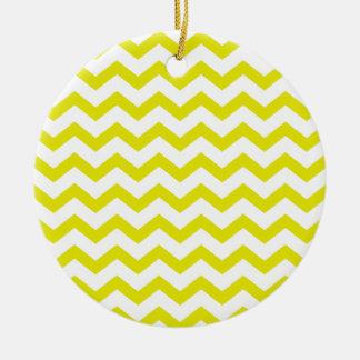 Lemon Yellow Chevrons Ceramic Ornament