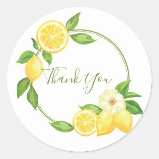 Lemon Yellow Citrus Thank You Favor Tag Sticker