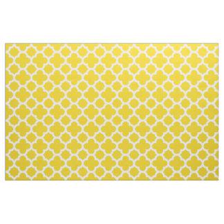 Lemon Yellow Classic Quatrefoil Pattern Fabric