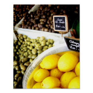 Lemon Yellow France Market Kitchen Art Poster