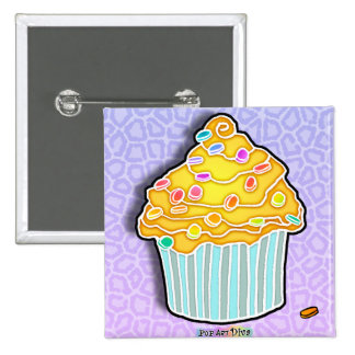 Lemon Yellow Frosted CUPCAKE BUTTON