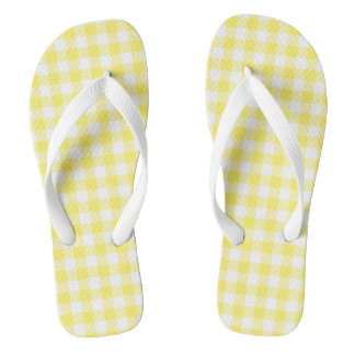 Lemon Yellow Gingham Check Flip Flops Adult