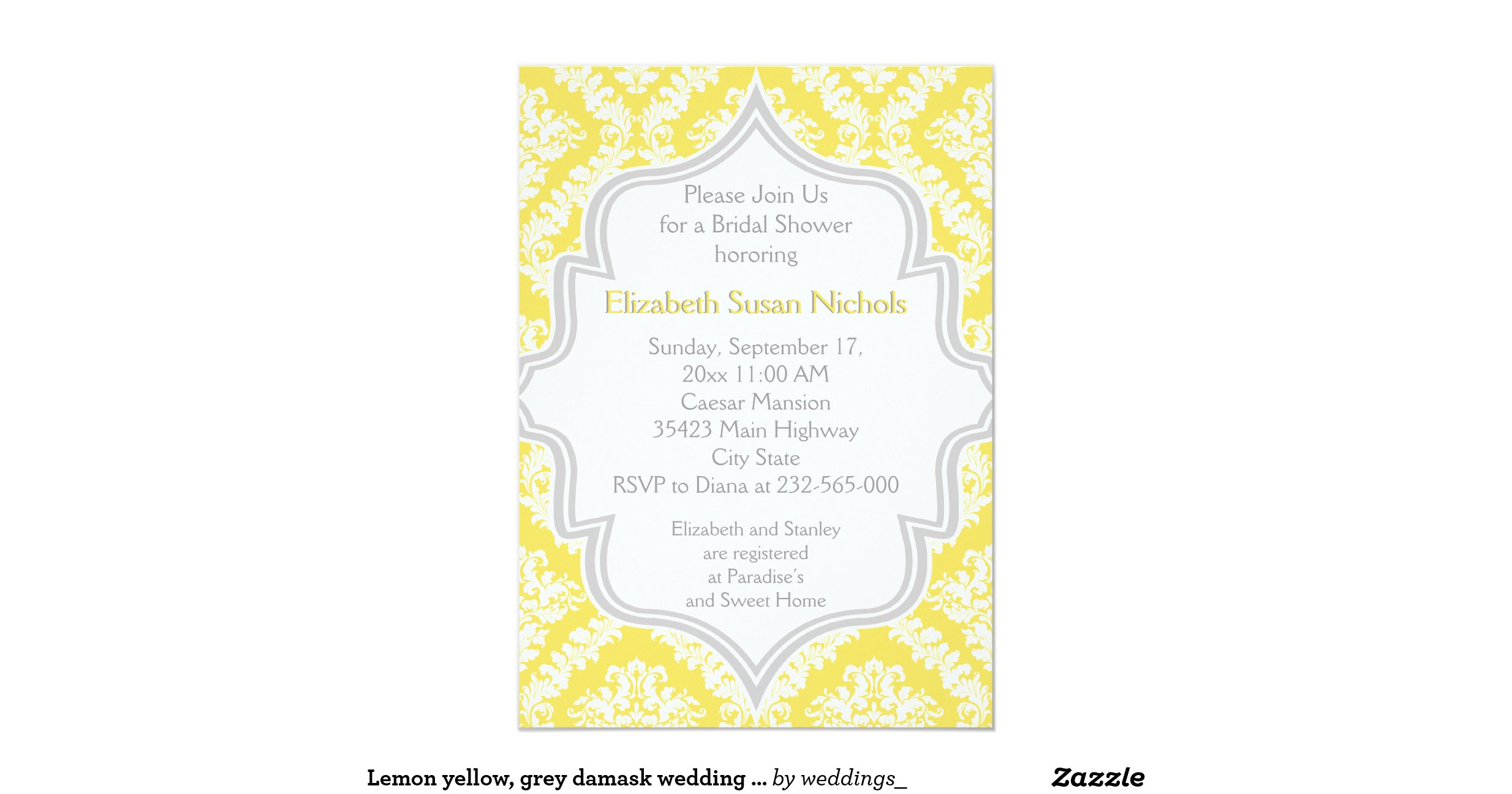 Lemon yellow grey damask wedding bridal shower 5 x 7 for Yellow bridal shower invitations