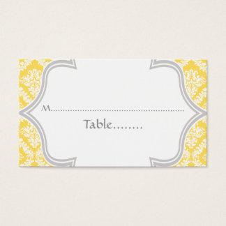 Lemon yellow, grey damask wedding place card
