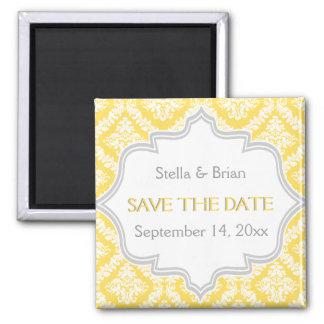 Lemon yellow, grey damask wedding Save the Date Square Magnet