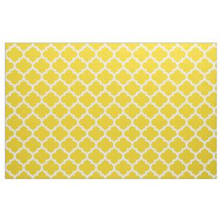 Lemon Yellow Moroccan Quatrefoil Trellis Fabric