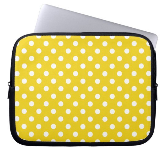 Lemon Yellow Polka Dot Pattern Laptop Sleeve