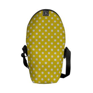 Lemon Yellow Polka Dot Pattern Messenger Bags