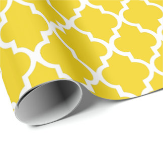 Lemon Yellow Quatrefoil Tiles Pattern Wrapping Paper