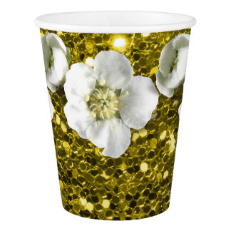 Lemon Yellow Sequin Tropical Glitter Flower Jasmin Paper Cup