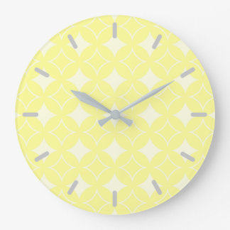 Lemon yellow shippo pattern large clock