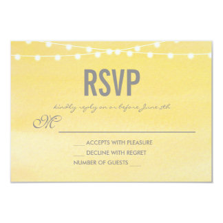Lemon Yellow Watercolor String Lights RSVP Card