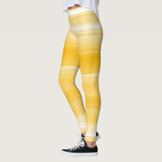 Lemon yellow with white shades / stripes leggings