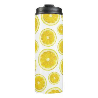 Lemonade drinkware bottle. Yellow lemon slice poly Thermal Tumbler