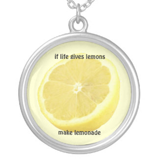 Lemonade : if life gives you lemons silver plated necklace