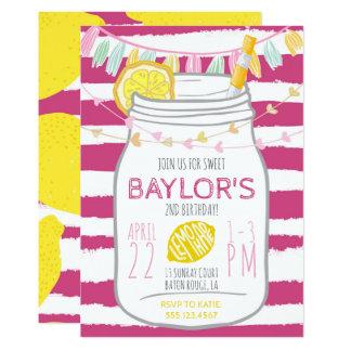 Lemonade Mason Jar Birthday Invitation