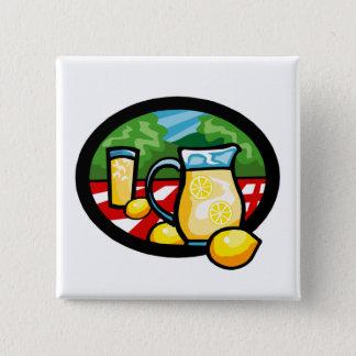 Lemonade Picnic Pitcher Lemons Gingham Check 2 Inch Square Button