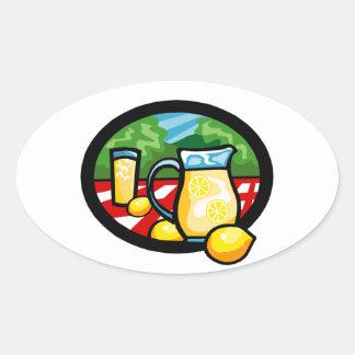 Lemonade Picnic Pitcher Lemons Gingham Check Oval Sticker