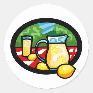 Lemonade Picnic Pitcher Lemons Gingham Check Round Sticker