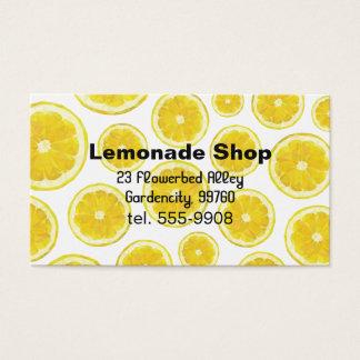 Lemonade shop business card. Yellow fresh fruit Business Card