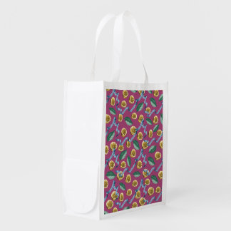 Lemons and blue ribbons pattern reusable grocery bag
