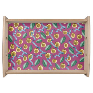 Lemons and blue ribbons pattern serving tray