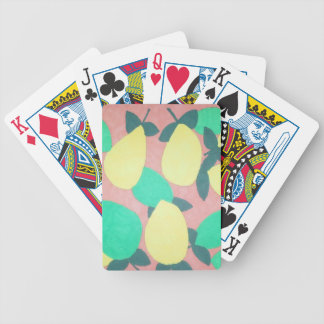 Lemons and Limes Citrus Fresh Pattern Bicycle Playing Cards